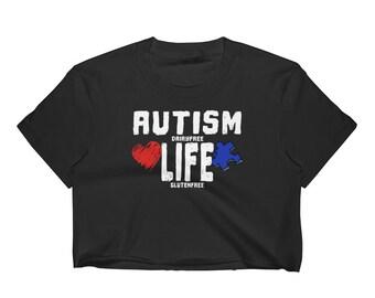 Autism Life Awareness Dairy Free Gluten Free Women's Crop Top