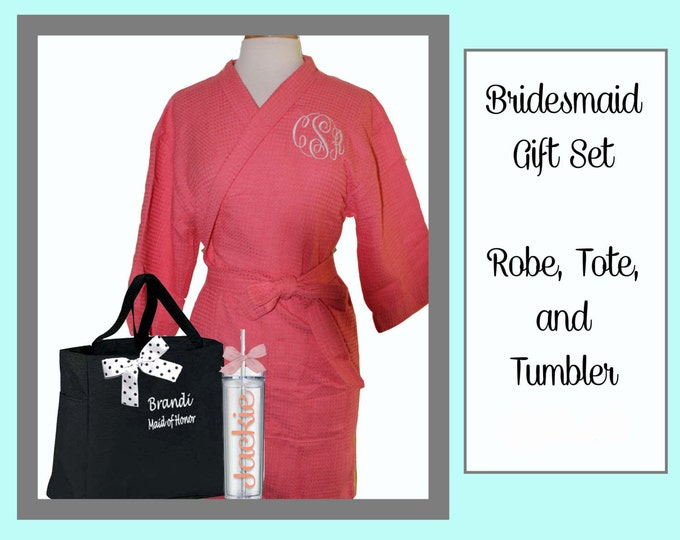 4 Getting Ready Robe Sets, Monogrammed Robe, Personalized Tote, and Tumbler, Team Bride, Bridesmaid Gift Set