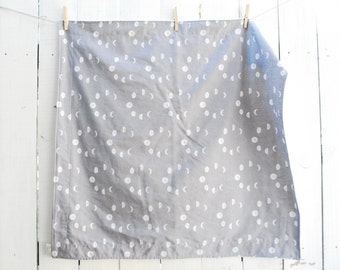 Organic Grey Moon Phases Blanket, Baby, Crib, Twin Sized Blanket, Moon Blanket, Galaxy Decor, Made to Order