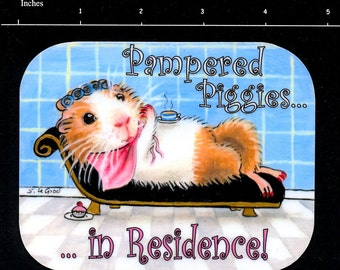 Guinea Pig Cavy in residence beauty salon laminated door cage sign room decor painting by Suzanne Le Good