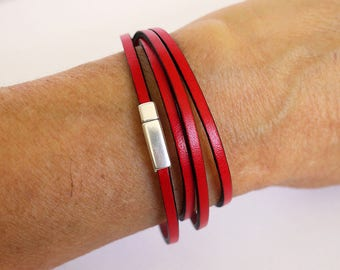 Leather Bracelet red 4 turns of wrist - strap with 3mm Leather Bracelet - leather women Bracelet