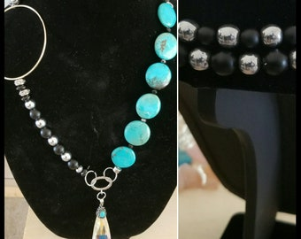 Turquoise and SIlver Hematite Statement Necklace
