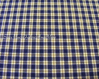 Checkered Mini-Plaid Multi-Color HomeSpun Fabric~by the 1/2 yard~Navy & Natural color~Primitives~Crafts