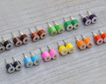 Color Pencil Ear Studs, The Hexagon Version In Candy Colors Handmade In England By Huiyi Tan