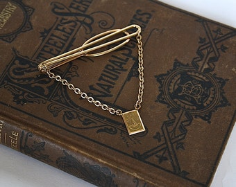 14K Gold Tie Bar - Gold Tie Clip - Gold Tie Clasp - Gift for Him - Vintage Chemistry Gift -  Chemist Gift - Schering Plough - Tie Accessory
