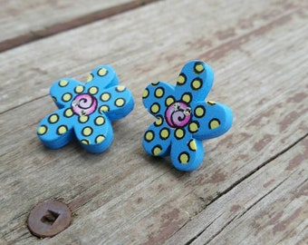 Blue, Pink, and Yellow Wooden Button Clip on Earrings - colorful womens earrings - Spring Flowers - Gift Ideas