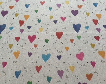 Hearts Gift Wrap - Hearts Tissue Paper - Rainbow Hearts Tissue Paper - Valentine Tissue Paper - Cute Tissue Paper / 5 sheets
