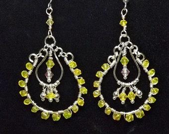 Lemon Drop Wire Wrapped Earrings