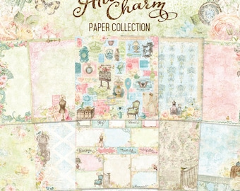 Blue Fern Attic Charm Collection  12 x 12 Scrapbook Paper Pad  Full Collection Pack, 2-Each Of 10 Designs, 20 Double Sided Papers Total