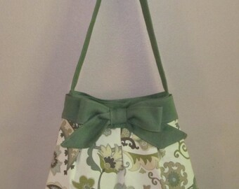 Handmade Over the Shoulder Pleated Bow Handbag, Medium Green