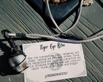 Tiger Eye Blue Necklace - Wire Wrapped Healing Crystal - Black wire wrapped Tiger Eye Blue Necklace