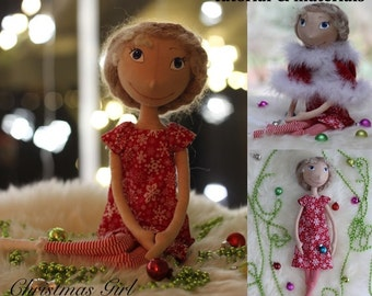 DiY Cloth Doll Making Sewing Kit PATTERN TUTORIAL MATERIALS Christmas Doll