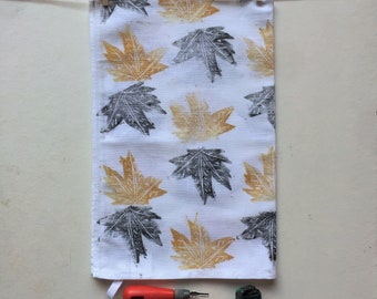 Large Tea Towel, Leaves, Handprinted, Kitchen Gifts, Handmade Gift Ideas, House Warming Gift Idea