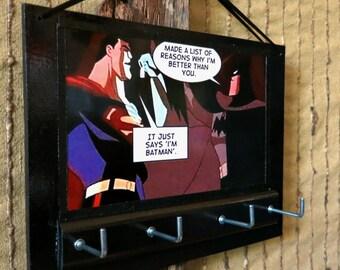 Key Rack Holder Superman Batman Print, Comic Cartoon Key Hook Hanger, Housewarming Gift