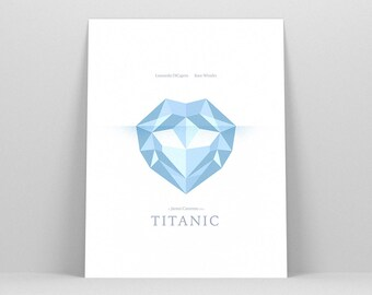 Titanic Poster ~ Leonardo Dicaprio, Titanic Necklace, Movie Poster, Minimalist Poster, Gifts for Her, Gifts for Women, Art Print, Wall Art