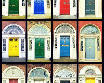 Door Photography. Dublin Doors Irish Doors. Georgian Doors. Photo Collage Colorful Print. Ireland. Wall Art Home Decor. Travel Photography