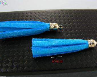 Textile blue Turquoise suede tassel 2 # V16B