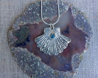 Silver Scallop Shell with Opal Pendant