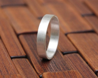 Smooth Silver Ring - Recycled Sterling Silver Band- 5mm Rectangular Wedding Band - Mens Wedding Ring