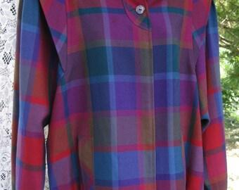 IRISH Wool jacket Made in IRELAND, 1980s 80s New Wave plaid coat, Punk Era Plaid Jacket, Ladies Jacket, Ladies Coat, Avoca jacket coat