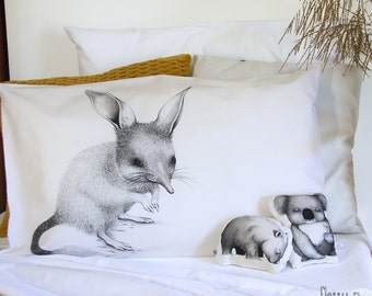 Bilby pillowcase, facing right. Illustrated pillowslip. Australian Gift with original art by flossy-p.