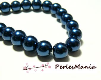 1 strand of approximately 85 beads glass Pearl round 10mm blue night HB7211, DIY