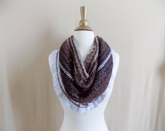 Brown Cowl- Boho Scarf- Bohemian Style- Bohemian Accessories- Snood- Mexican Blanket- One Of a Kind- Knitted Cowl- Boho Scarf- Cowl Scarf