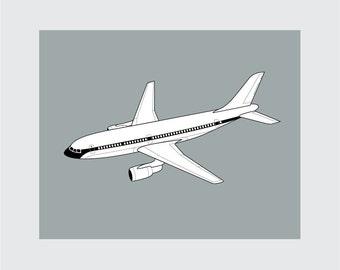 Airplane Art Print, 8x10 PRINTABLE, Airbus, Instant Download, Digital
