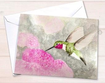 Hummingbird notecard, Watercolor notecard set, personal stationery, gardening notecards, art reprint, watercolor hummingbird, blank notecard