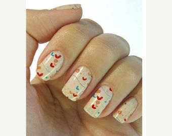 On Sale hearts nail stickers decals nail art water decals, Nail Water Decals Transfers Wraps