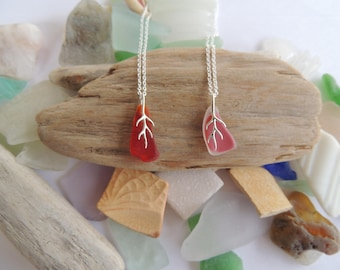 Red and Pink Sea Glass Tree Brach Necklaces, Authentic Sea Glass, Beach Glass, Sterling Silver Chain