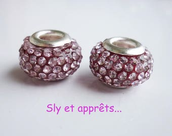 2 metal rhinestone pink pale 12mm