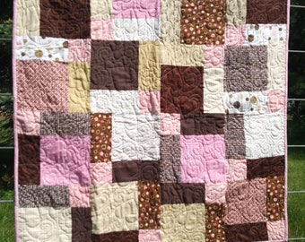 Pink and Brown baby quilt