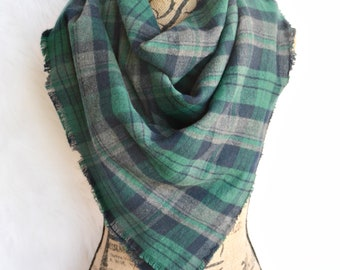 Navy & Green Blanket Scarf, Plaid, Oversized Scarf, Flannel Scarf, Scarves, Winter Scarf, Fashion Scarf, Fashion Accessory, Gift for Her