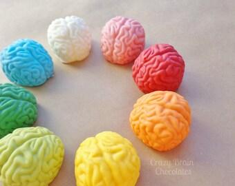 Solid Chocolate Brains (4) - Birthday - Wedding - Zombie – Chocolate