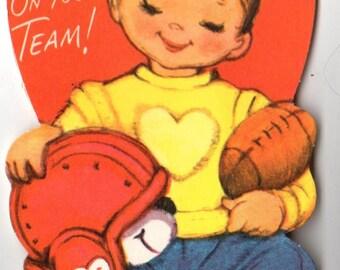 Vintage Boy Football Player Die-Cut Children's Classroom Valentine's Day Card