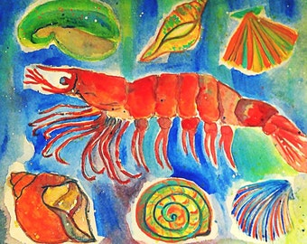 "SHRIMP-Original  Painting-One of a Kind-5""x7"" Image-8""x10"" White Mat"