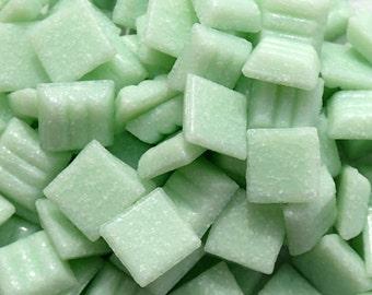 Light Green Vitreous Glass Tiles - 1 cm - Approx 3/8 inch - Mosaic Tiles - 100 grams - 10mmx10mmx4mm - Mini Mosaic Tiles - Pale Green Mint