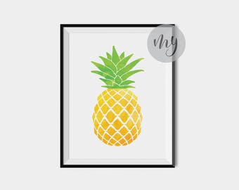 Watercolor Pineapple Print, Pineapple Decor, Pineapple Art Print, Kitchen Print, Fruit Print, Printable Wall Art, Kitchen Wall Art