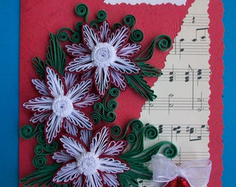 Homemade Christmas Card, Christmas Card Handmade, Holly Christmas card, Quilled Xmas card, Unique Christmas Card, Quilling Christmas card