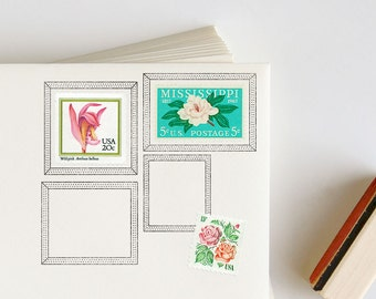 Postage Picture Frame Rubber Stamp for envelopes: Dotted