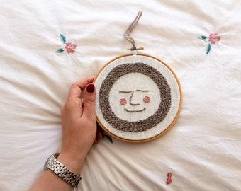 Punch Needle Wall Hanging - Sleepy Moon