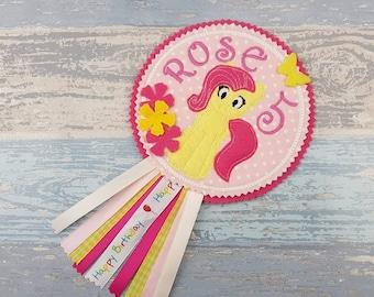 Yellow Horse Badge - Pony Birthday Badge - Birthday Rosette - Celebration Birthday - MLP Party Gift - Fluttershy Pony  - My Little Pony