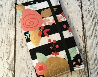 Samsung Galaxy wallet, Galaxy case - Stripes and floral print with removable gel case