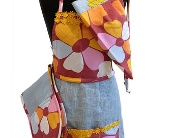 Cheerful Kitchen Gift Set -  Linen Apron with matching Oven Mitts and Hair Wrap - Foodie Gift - Wonder women apron - Kitchen Apron