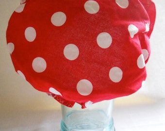 Waterproof Shower Cap - Lipstick Red and White Polka Dots - Retro Rockabilly Bath and Beauty Hat