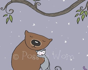 Childrens art, nursery art, wall art Mini Print Goodnight Poss