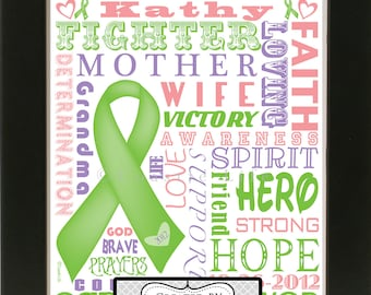 Customized Breast Cancer Survivor Fighter Art Print - Great for Christmas Gifts and Cancer Free Anniversaries