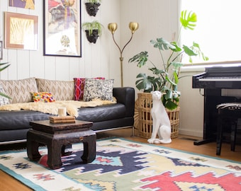 Kilim Style Area Rug, Navajo Inspired Tribal Colorblock 8x5