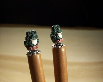 Hair Sticks Frogs Black Walnut 7in Made in Oregon